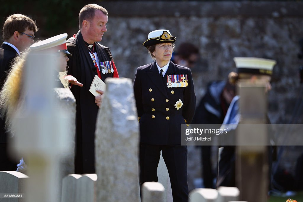 Princess Anne, Princess Royal looks on during a service at a war graves cemetery to mark the Battle of Jutland on May 28, 2016 in South Queensferry,Scotland. The events begin a weekend of commemoration leading up to the anniversary on 31 May and 1 June to mark the centenary of the largest naval battle of World War One where more than 6,000 Britons and 2,500 Germans died in the Battle of Jutland.
