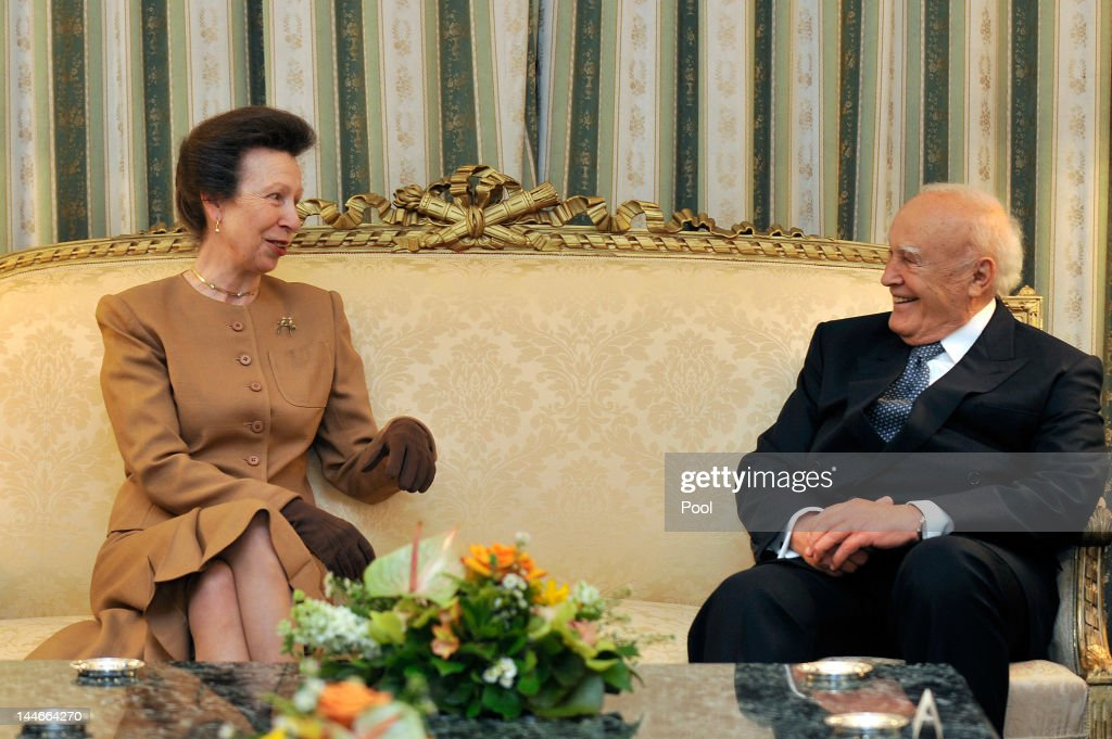 Princess Anne, Princess Royal meets with Greek President <a gi-track='captionPersonalityLinkClicked' href=/galleries/search?phrase=Karolos+Papoulias&family=editorial&specificpeople=743016 ng-click='$event.stopPropagation()'>Karolos Papoulias</a> at the Presidental Palace during the Olympic flame hand over meeting on May 17, 2012 in Athens, Greece. Princess Anne is part of the UK delegation that will receive the London 2012 Olympic flame in the historic Panathenaic Stadium in the Greek capital.