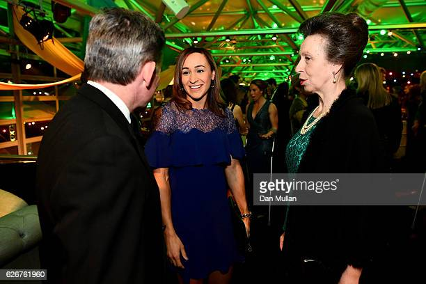 Princess Anne Princess Royal meets with track and field athlete Jessica EnnisHill as they attend the Team GB Ball at Battersea Evolution on November...