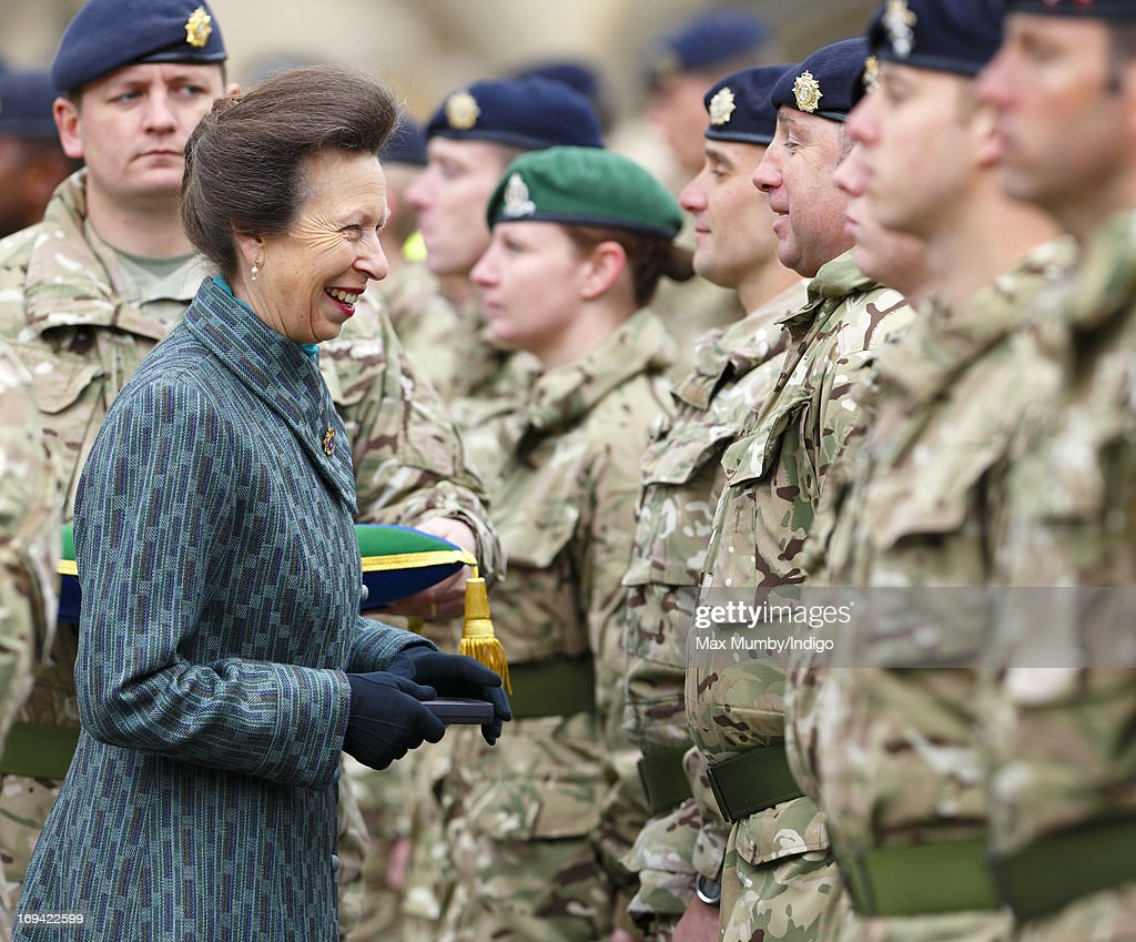 Princess Anne, Princess Royal (in her role as Colonel-in-Chief) presents Afghanistan Operational Service Medals to troops of 12 Logistic Support Regiment, Royal Logistic Corps on May 24, 2013 in Abingdon, England.
