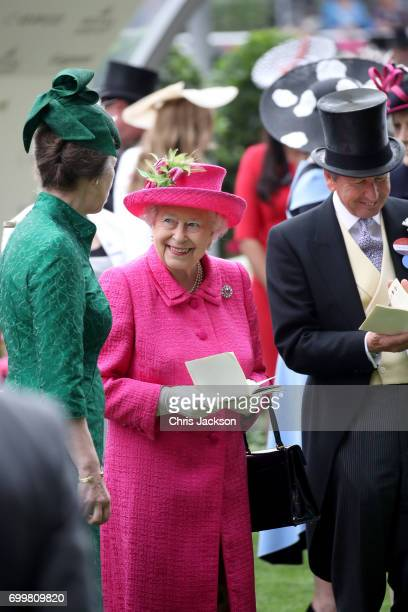 Princess Anne Princess Royal Queen Elizabeth II and John Warren are seen in the Parade Ring as she attends Royal Ascot 2017 at Ascot Racecourse on...