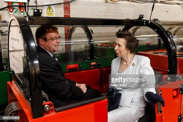 Princess Anne Princess Royal takes a ride on Mail Rail during her visit to The Postal Museum and Mail Rail for its ceremonial opening on June 13 in...
