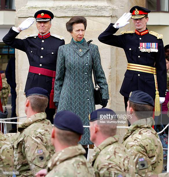 Princess Anne Princess Royal takes the salute as she attends the Afghanistan Operational Service Medals parade by troops of 12 Logistic Support...