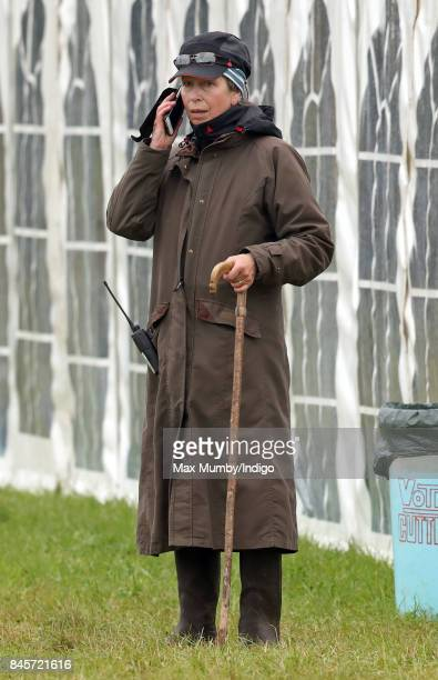 Princess Anne Princess Royal uses her mobile phone as she attends day 3 of the Whatley Manor Horse Trials at Gatcombe Park on September 10 2017 in...