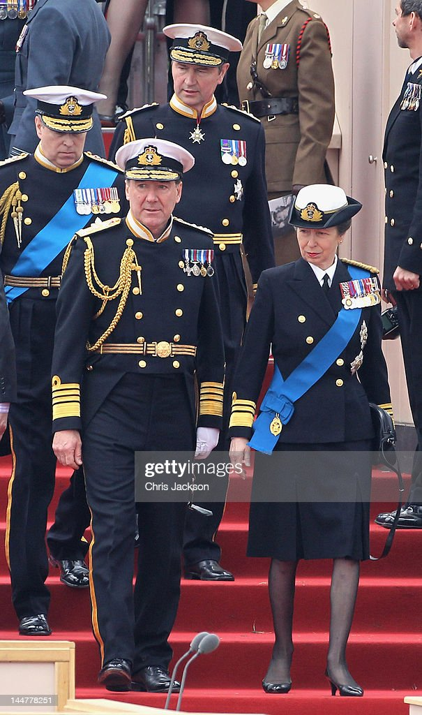 Princess Anne, Princess Royal (front R), Vice Admiral Sir <a gi-track='captionPersonalityLinkClicked' href=/galleries/search?phrase=Timothy+Laurence&family=editorial&specificpeople=160940 ng-click='$event.stopPropagation()'>Timothy Laurence</a> (back R) and attend the Armed Forces Parade and <a gi-track='captionPersonalityLinkClicked' href=/galleries/search?phrase=Prince+Andrew+-+Duke+of+York&family=editorial&specificpeople=160175 ng-click='$event.stopPropagation()'>Prince Andrew</a>, Duke of York (back L) Muster on May 19, 2012 in Windsor, England. Over 2500 troops took part in the Diamond Jubilee Muster in Home Park.