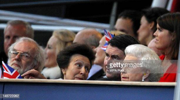 Princess Anne Princess Royal Vice Admiral Timothy Laurence and Queen Elizabeth II attend the Diamond Jubilee Buckingham Palace Concert June 04 2012...