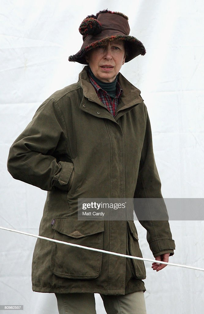 Princess Anne, Princess Royal watches the horses warming up for the show jumping during the Badminton Horse Trials on May 4 2008 in Badminton, England. Reigning world champion Zara Phillips rode Glenbuck and Ardfield Magic Star at the event - as the British equestrian team look to finalise their 2008 Olympics squad. The event started with two days of dressage then went into cross country before finishing with the jumping test today.