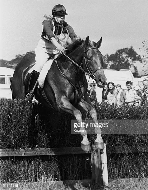 Princess Anne rides her horse Doublet over a fence during the steeplechase part of the European threeday event at Burghley Lincolnshire 4th September...