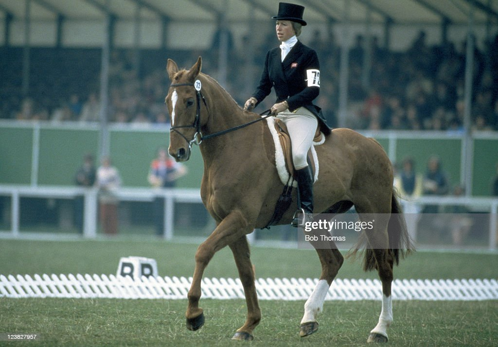 HRH Princess Anne riding her horse Stevie B in the dressage element during the Badminton Horse Trials, circa May 1982.