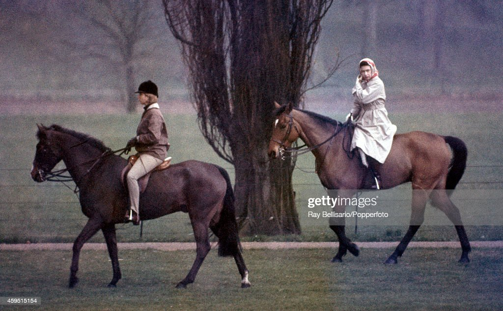 Princess Anne riding High Jinks with Queen Elizabeth II riding Sultan in Windsor Park on 1st April 1967 This image is one of a series taken by Ray...