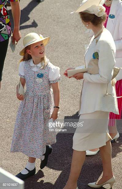Princess Anne Talking To Her Daughter Zara Phillips At Royal Ascot To Watch The Racing Princess Anne Is Wearing A Cream Suit And Hat Zara Phillips Is...
