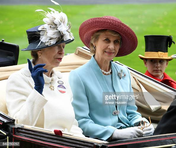 Princess Anne The Princess Royal and Birgitte Duchess of Gloucester arrive in an open carriage to attend Day 1 of Royal Ascot on June 14 2016 in...