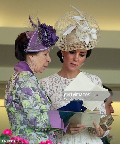 Princess Anne The Princess Royal and Catherine Duchess of Cambridge watch the racing as they attend day 2 of Royal Ascot at Ascot Racecourse on June...