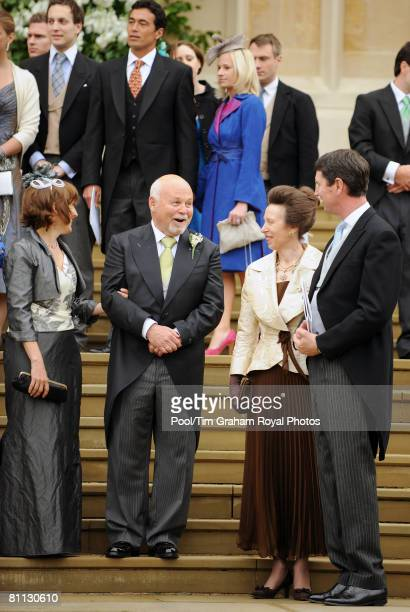 Princess Anne the Princess Royal and Commander Tim Laurence chat to Mr Brian Kelly Autumn's father at the wedding of Peter Phillips to Autumn Kelly...