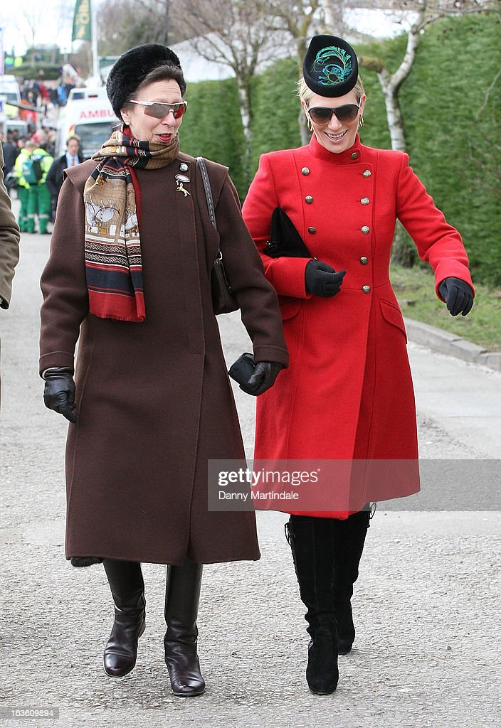 Princess Anne, The Princess Royal (L) and daughter <a gi-track='captionPersonalityLinkClicked' href=/galleries/search?phrase=Zara+Phillips&family=editorial&specificpeople=161323 ng-click='$event.stopPropagation()'>Zara Phillips</a> attend day 2 of the Cheltenham Festival at Cheltenham Racecourse on March 13, 2013 in Cheltenham, England.