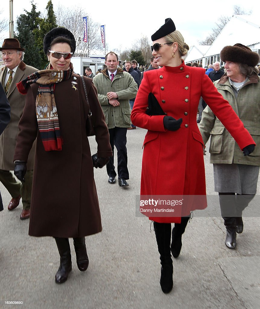Princess Anne, The Princess Royal (L) and daughter <a gi-track='captionPersonalityLinkClicked' href=/galleries/search?phrase=Zara+Phillips&family=editorial&specificpeople=161323 ng-click='$event.stopPropagation()'>Zara Phillips</a> attends day 2 of the Cheltenham Festival at Cheltenham Racecourse on March 13, 2013 in Cheltenham, England.