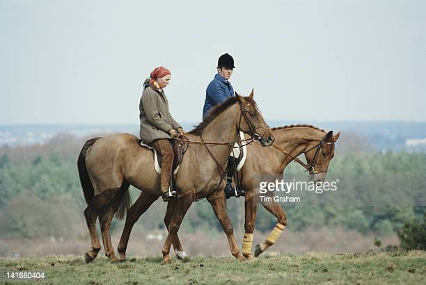 Princess Anne the Princess Royal and her husband Mark Phillips out exercising their horses at the Crookham Horse Trials circa 1980