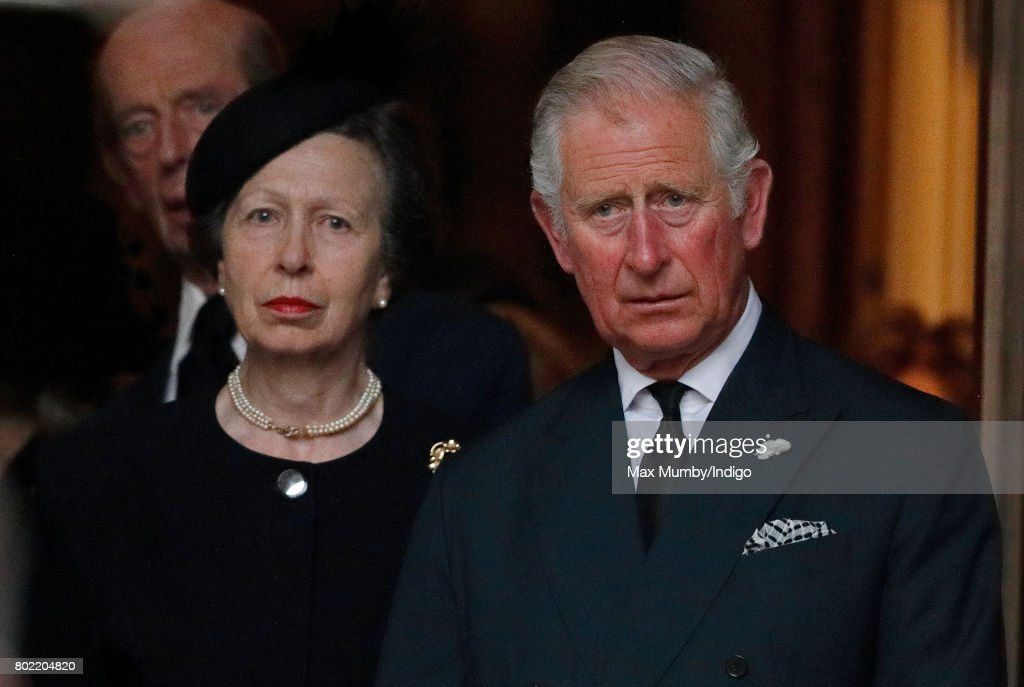 Princess Anne, The Princess Royal and Prince Charles, Prince of Wales attend the funeral of Patricia Knatchbull, Countess Mountbatten of Burma at St Paul's Church, Knightsbridge on June 27, 2017 in London, England. Patricia, Countess Mountbatten of Burma daughter of Louis Mountbatten, 1st Earl Mountbatten of Burma and third cousin of Queen Elizabeth II died aged 93 on June 13 2017.