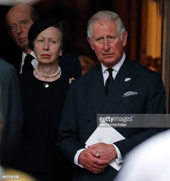 Princess Anne The Princess Royal and Prince Charles Prince of Wales attend the funeral of Patricia Knatchbull Countess Mountbatten of Burma at St...