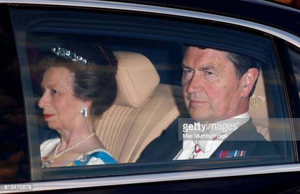 Princess Anne The Princess Royal and Vice Admiral Sir Tim Laurence attend a State Banquet at Buckingham Palace on day 1 of the Spanish State Visit on...