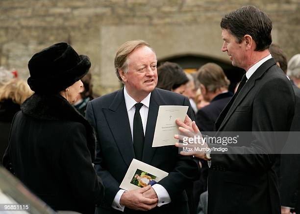 HRH Princess Anne The Princess Royal Andrew Parker Bowles and Tim Laurence attend the funeral service for Rosemary Parker who died of cancer on...