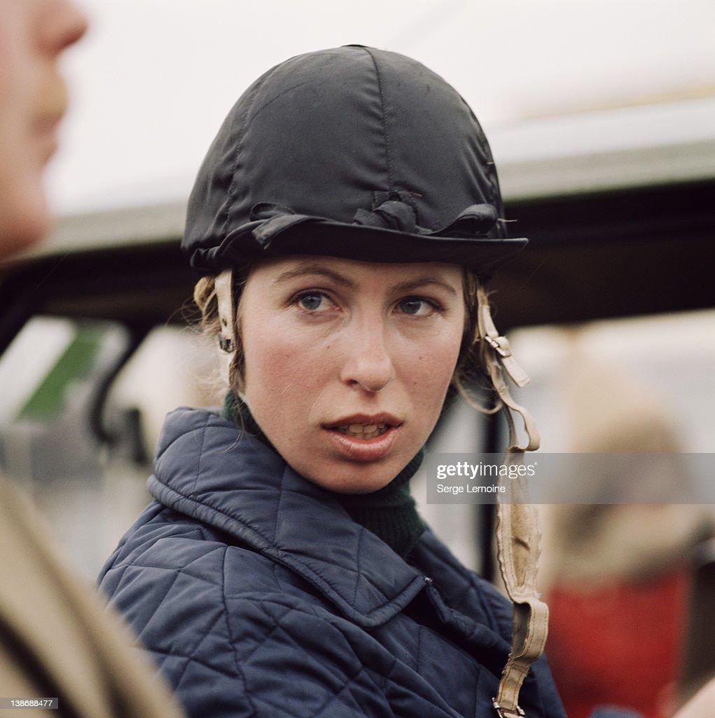 Princess Anne, the Princess Royal, at an equestrian event, circa 1980.