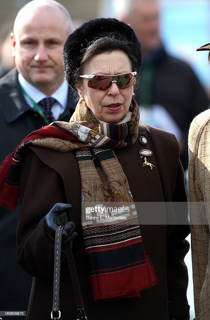 Princess Anne, The Princess Royal attends day 2 of the Cheltenham Festival at Cheltenham Racecourse on March 13, 2013 in Cheltenham, England.