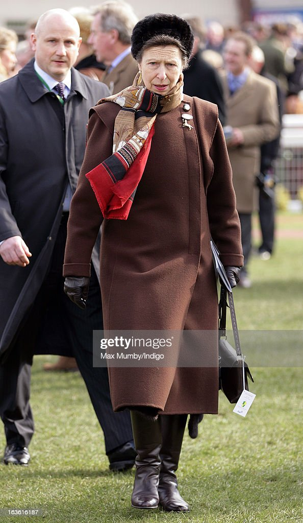 Princess Anne, The Princess Royal attends Day 2 of The Cheltenham Festival at Cheltenham Racecourse on March 13, 2013 in London, England.