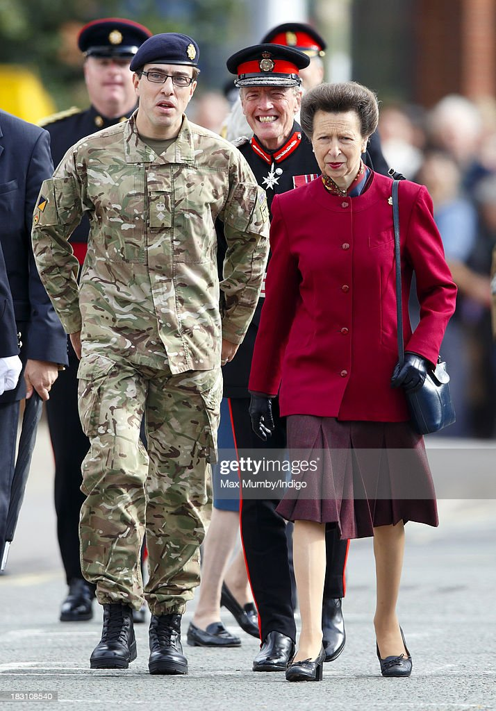 Princess Anne, The Princess Royal attends the Freedom Parade of 11 Explosive Ordnance Disposal Regiment, Royal Logistic Corps on October 4, 2013 in Didcot, England.