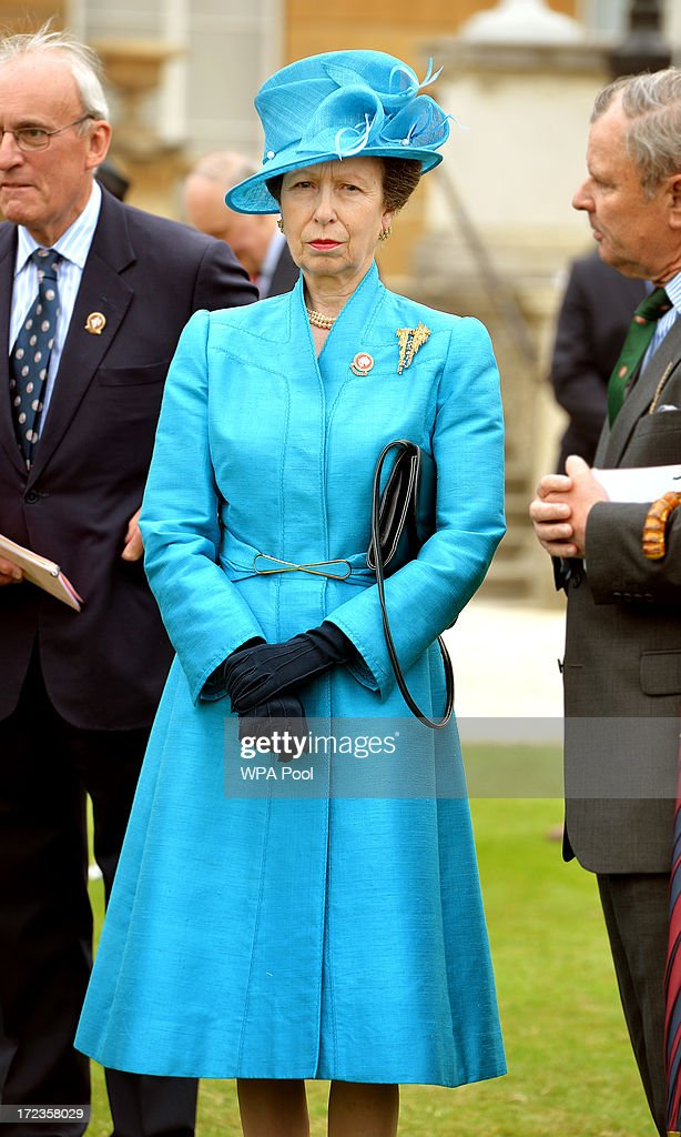 Princess Anne, The Princess Royal attends the Not Forgotten Association Garden Party for injured ex servicemen and women, in the Buckingham Palace Garden on July 2, 2013 in London, England.