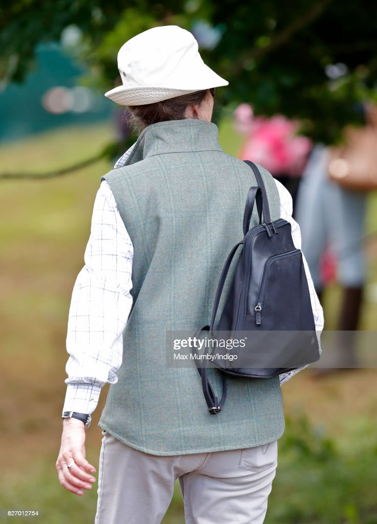 Princess Anne, The Princess Royal carries a rucksack on her back as she attends day 3 of the Festival of British Eventing at Gatcombe Park on August 6, 2017 in Stroud, England.