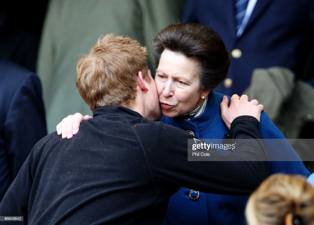 Princess Anne, The Princess Royal greets Prince Harry prior to the RBS 6 Nations Championship match between England and Scotland at Twickenham on March 21, 2009 in London, England.