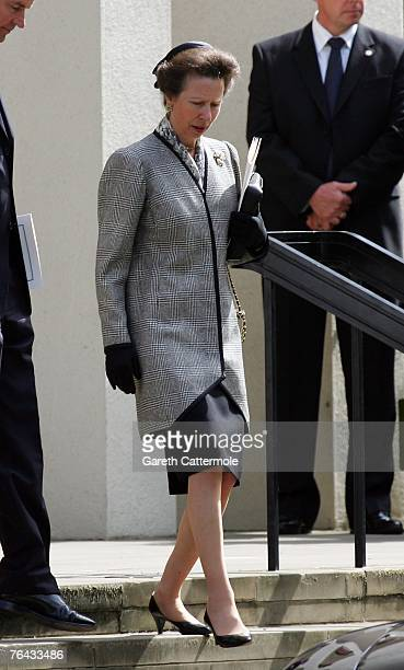 Princess Anne the Princess Royal leaves the 10th anniversary memorial service for Diana Princess Of Wales held at the Guards Chapel on August 31 2007...