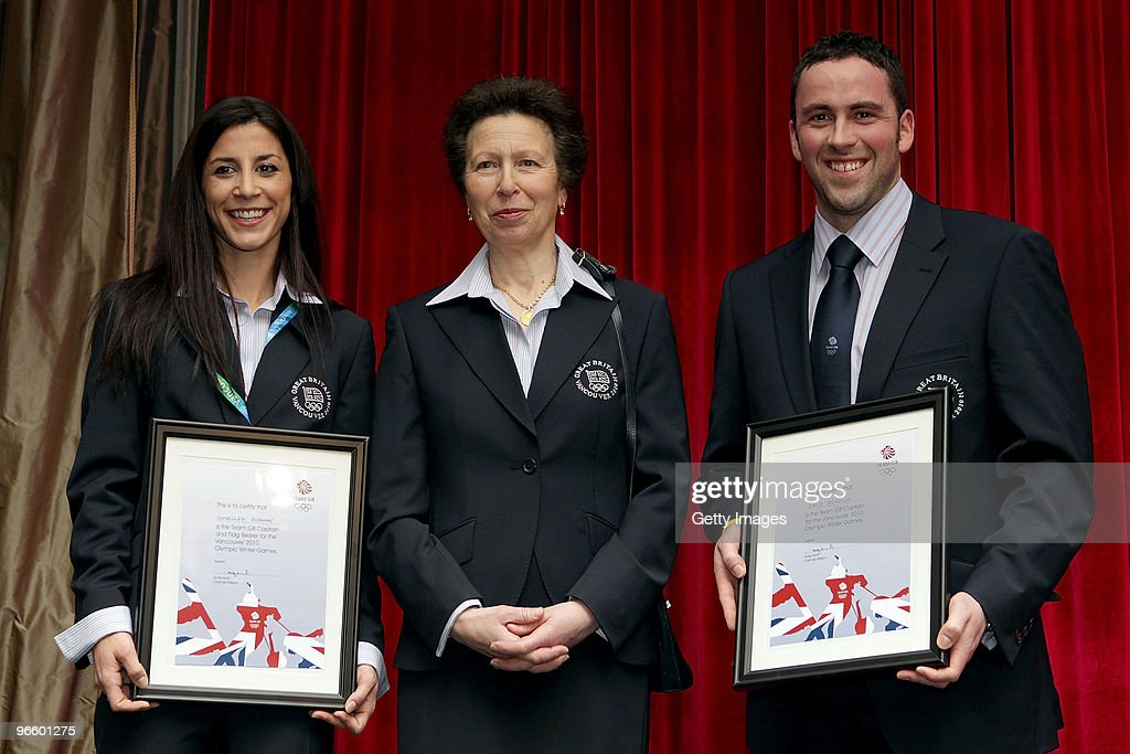 HRH Princess Anne, the Princess Royal poses with skeletor Shelley Rudman and curler David Murdoch of Great Britain after Rudman was named the flag bearer for Great Britain during the Great Britain Winter Olympics Welcome Night at the Terminal City Club ahead of the Vancouver 2010 Winter Olympics on February 11, 2010 in Vancouver, Canada.