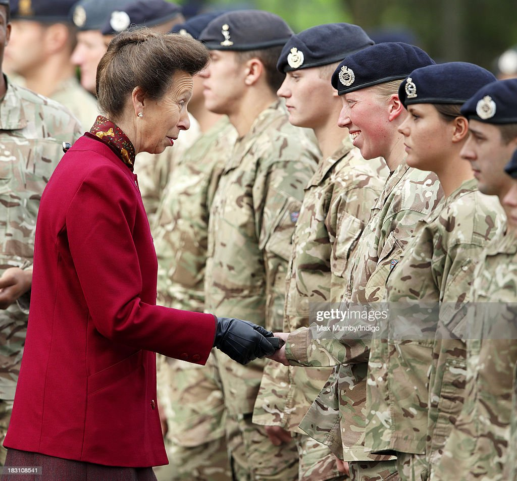 Princess Anne, The Princess Royal presents Afghanistan Operational Medals to troops of the Explosive Ordnance Disposal Task Force after attending the Freedom Parade of 11 Explosive Ordnance Disposal Regiment, Royal Logistic Corps on October 4, 2013 in Didcot, England.