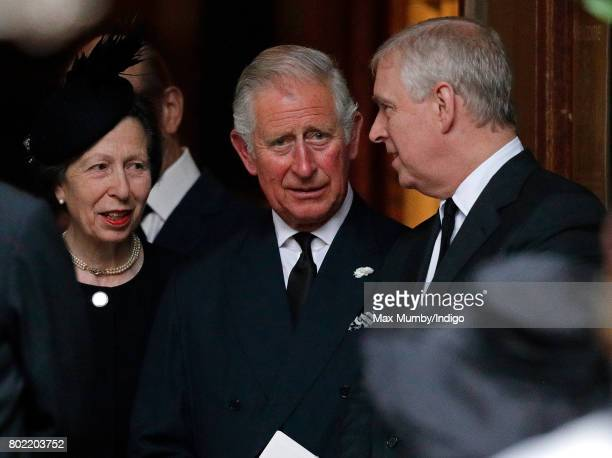 Princess Anne The Princess Royal Prince Charles Prince of Wales and Prince Andrew Duke of York attend the funeral of Patricia Knatchbull Countess...