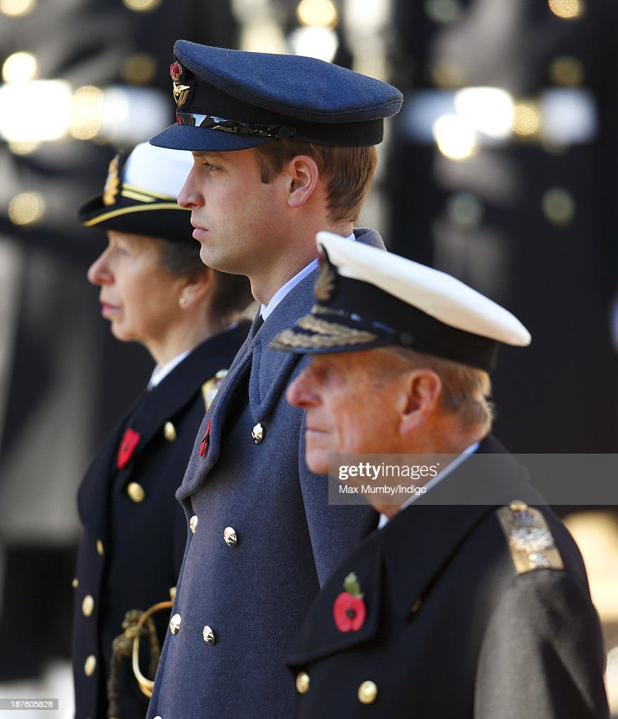 Princess Anne, The Princess Royal, Prince William, Duke of Cambridge and Prince Philip, Duke of Edinburgh attend the annual Remembrance Sunday Service at the Cenotaph on November 10, 2013 in London, United Kingdom. People across the UK gathered to pay tribute to service personnel who have died in the two World Wars and subsequent conflicts, as part of the annual Remembrance Sunday ceremonies.