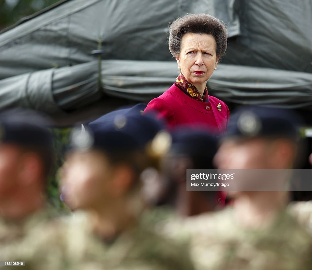 Princess Anne, The Princess Royal takes the salute after presenting Afghanistan Operational Medals to troops of the Explosive Ordnance Disposal Task Force on October 4, 2013 in Didcot, England.