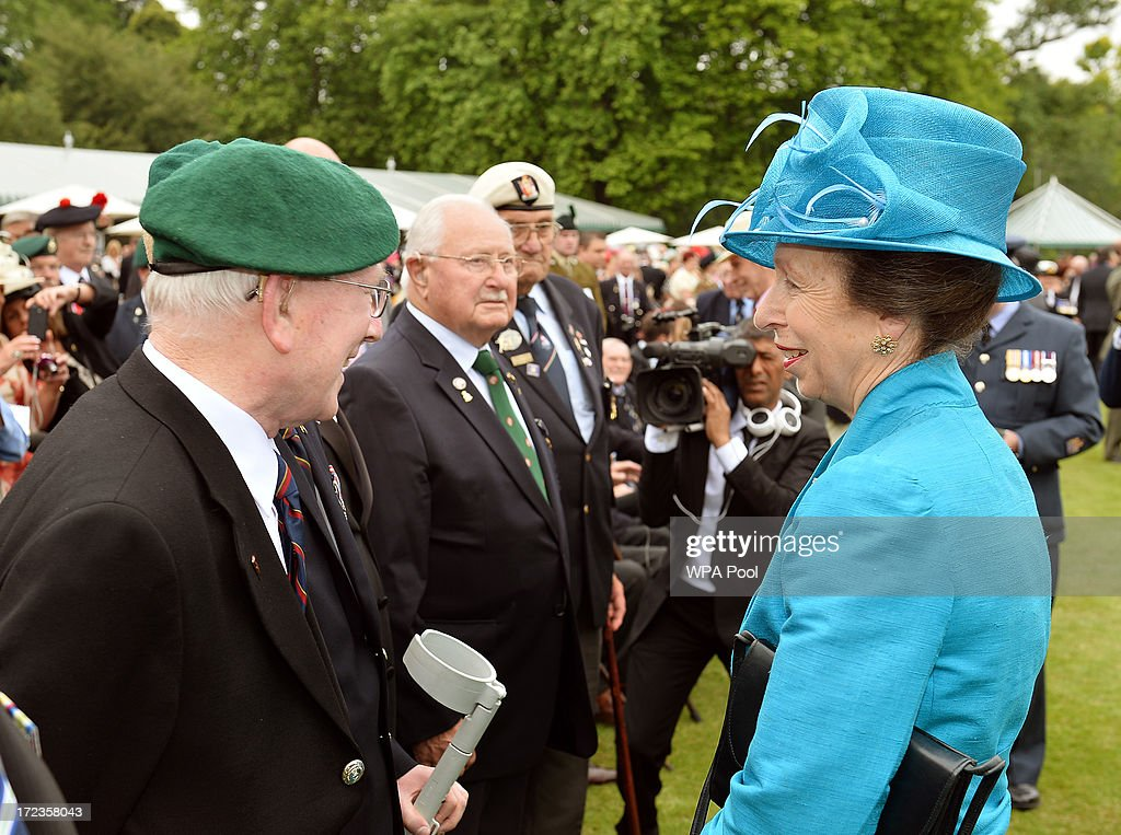 Princess Anne, The Princess Royal talks ex Royal Marine Ken Allcock, 84, from north Lincolnshire at the Not Forgotten Association Garden Party for injured ex servicemen and women, in the Buckingham Palace Garden on July 2, 2013 in London, England.