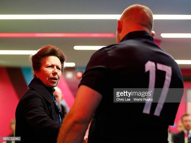 Princess Anne The Princess Royal talks to Gordon Reid of Scotland after the 2015 Rugby World Cup Quarter Final match between Australia and Scotland...