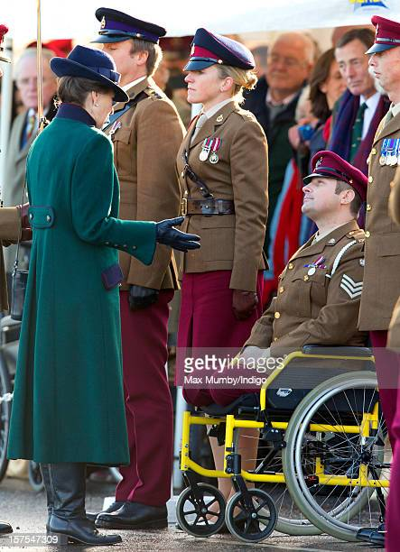 Princess Anne The Princess Royal talks with an injured soldier as she presents Afghanistan Operational Service Medals to Soldiers of The King's Royal...