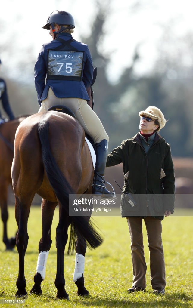 Princess Anne, The Princess Royal (r) talks with daughter Zara Phillips after she rode her horse 'Rum Expectations' in the dressage phase of the Gatcombe Horse Trials at Gatcombe Park on March 25, 2017 in Stroud, England.