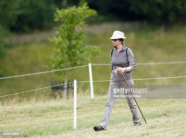 Princess Anne The Princess Royal walks the cross country course as she attends day 3 of the Festival of British Eventing at Gatcombe Park on August 9...