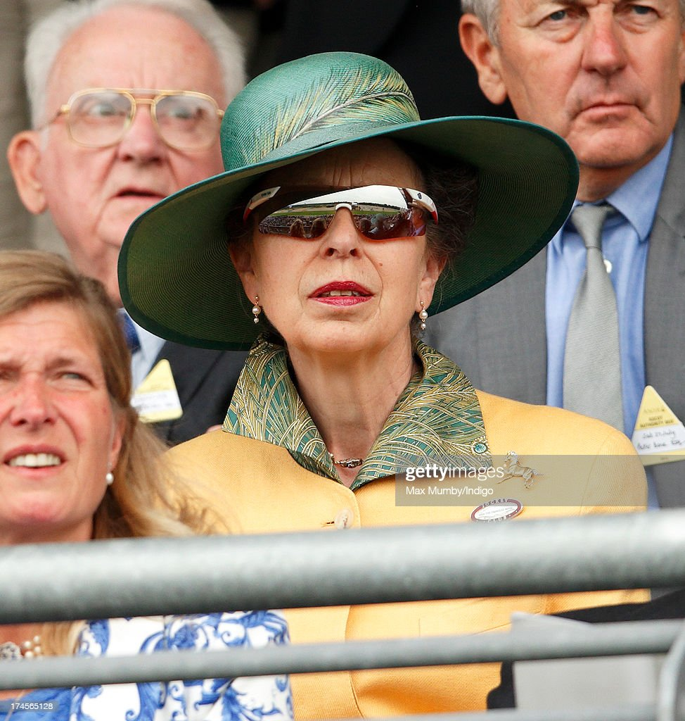 Princess Anne, The Princess Royal watches the King George VI and Queen Elizabeth Stakes at Ascot Racecourse on July 27, 2013 in Ascot, England.