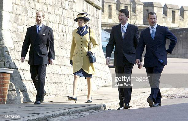 Princess Anne Timothy Laurence Peter Phillips The Earl Of Wessex Attend An Easter Service At St George'S Chapel Windsor Castle