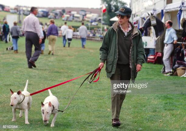 Princess Anne Walking Around Trade Stands With Two Of Her Bull Terrier Dogs At The British Horse Trials Championships At Gatcombe Park In...