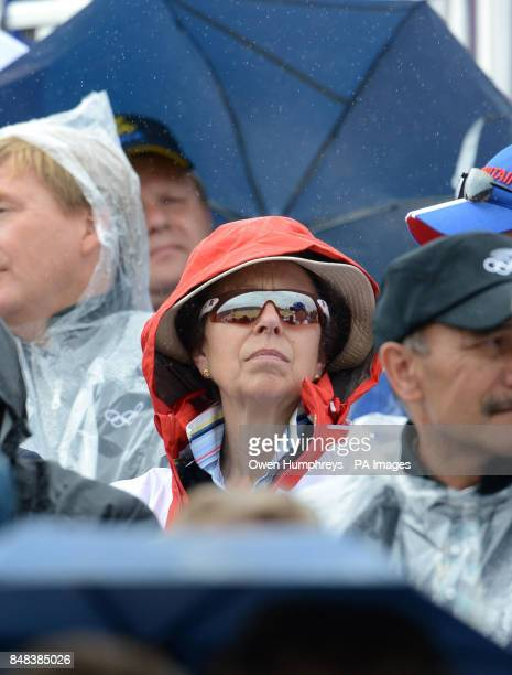 Princess Anne watches during the Individual Eventing Jumping Final on day four of the London Olympic Games at Greenwich Park London