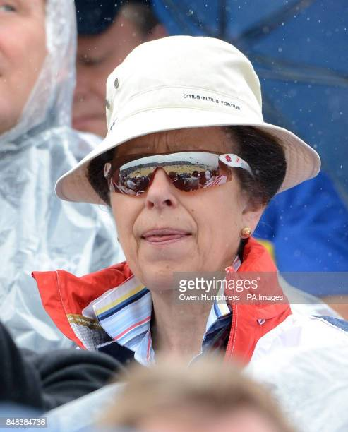 Princess Anne watches the Individual Eventing Jumping Final on day four of the London Olympic Games at Greenwich Park London