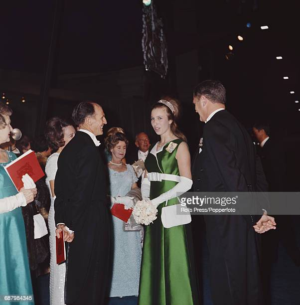Princess Anne wears a full length green dress as she attends a state reception in Melbourne Australia in April 1970