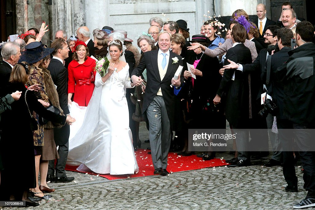 Princess Annemarie Gualtherie van Weezel and Prince Carlos de Bourbon de Parme leave church after their Royal Wedding at Abbaye de la Cambre on November 20, 2010 in Brussels, Belgium.